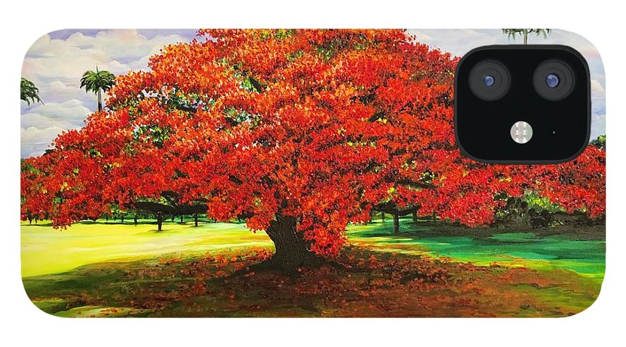 Flamboyant Tree IPhone 12 Case featuring the painting Flamboyant Ablaze by Karin Dawn Kelshall- Best