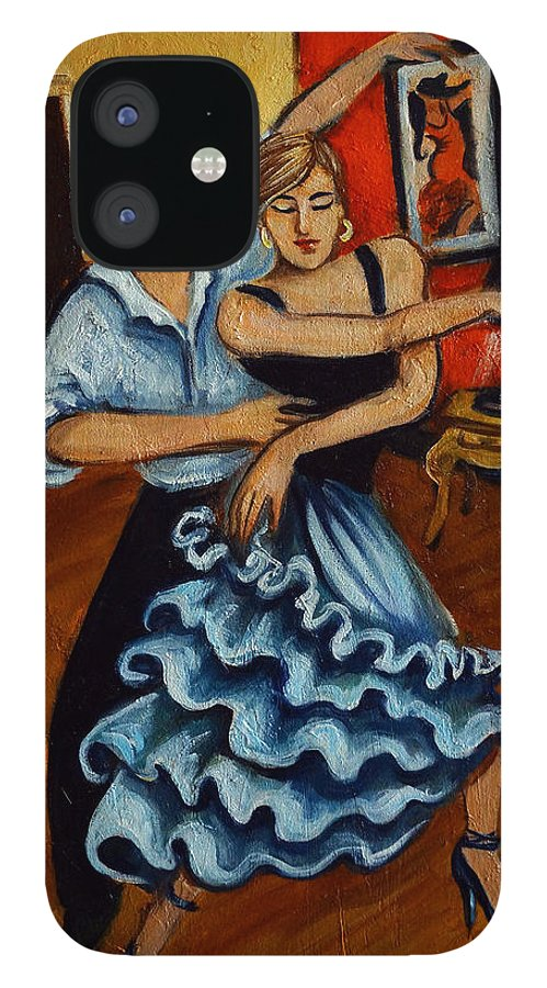 Dancers IPhone 12 Case featuring the painting Flamenco by Valerie Vescovi