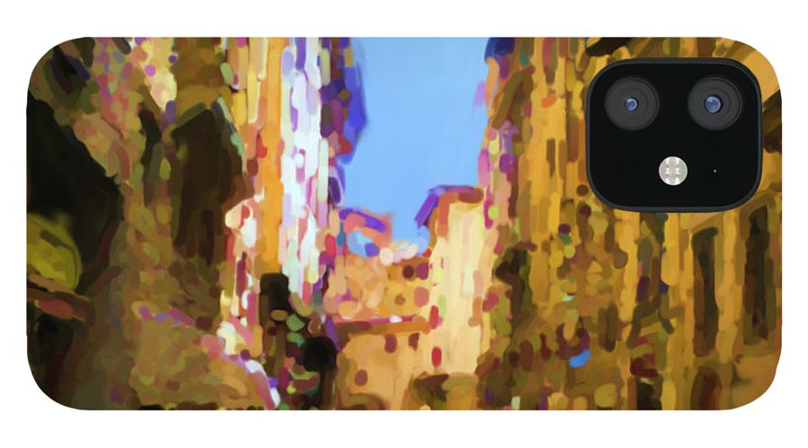 Florence IPhone 12 Case featuring the mixed media Florence by Asbjorn Lonvig