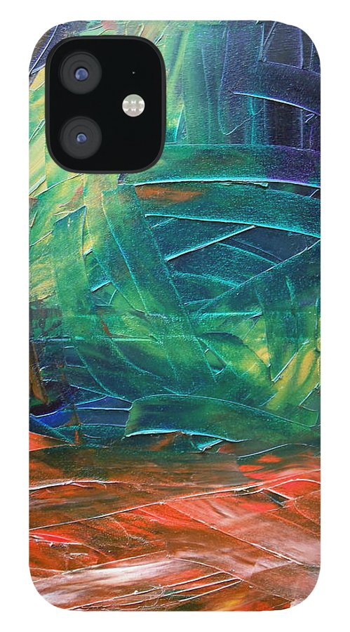 Painting IPhone 12 Case featuring the painting Forest.Part3 by Sergey Bezhinets