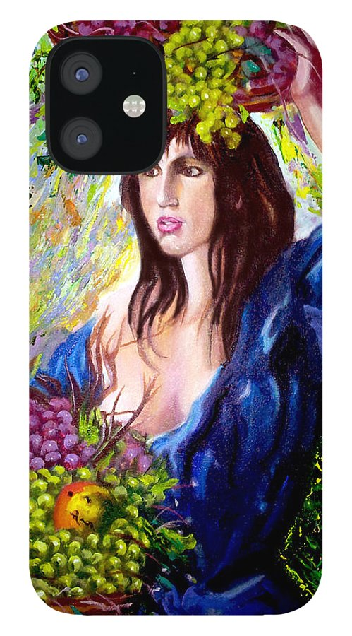 Cuban Art IPhone 12 Case featuring the painting Fruit lady by Jose Manuel Abraham