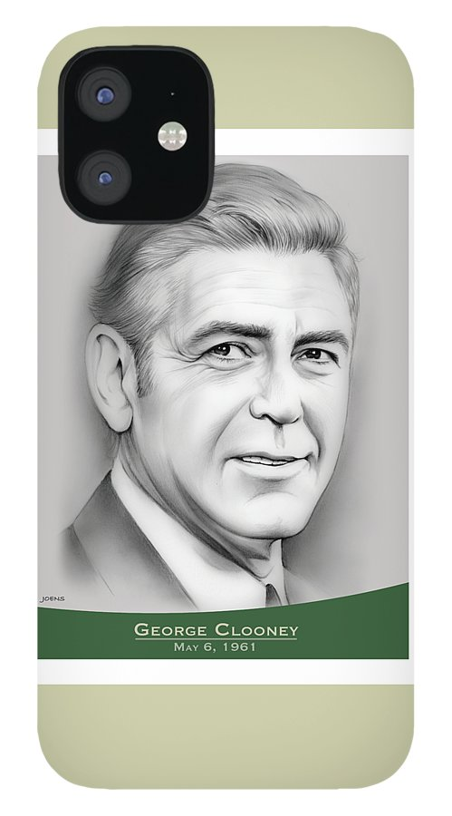 George Clooney IPhone 12 Case featuring the drawing George Clooney birthday by Greg Joens
