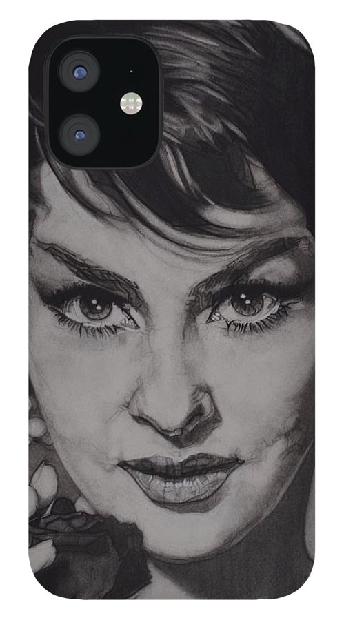 Charcoal On Paper IPhone 12 Case featuring the drawing Gina Lollobrigida by Sean Connolly