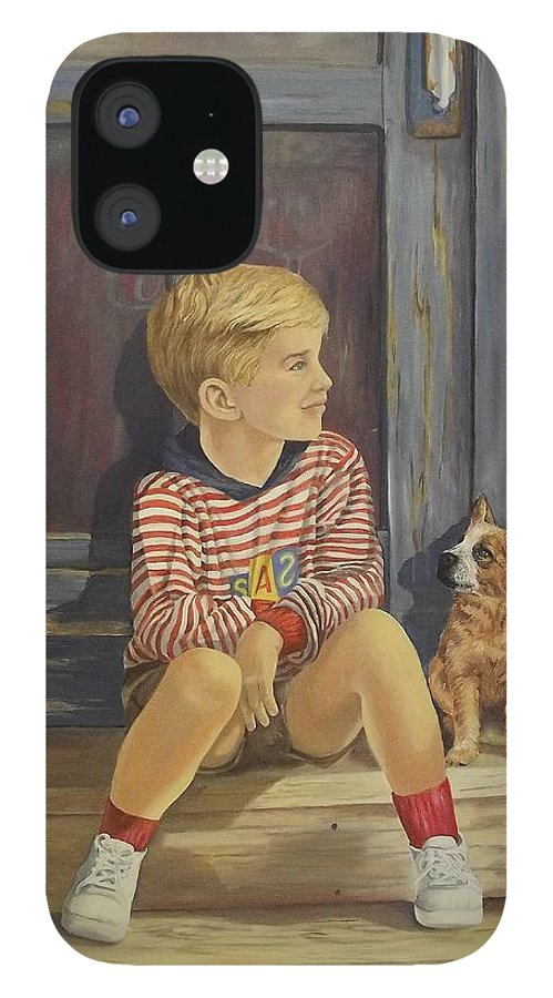 A Young Boy And His Dog IPhone 12 Case featuring the painting Grandpas Country Store by Wanda Dansereau