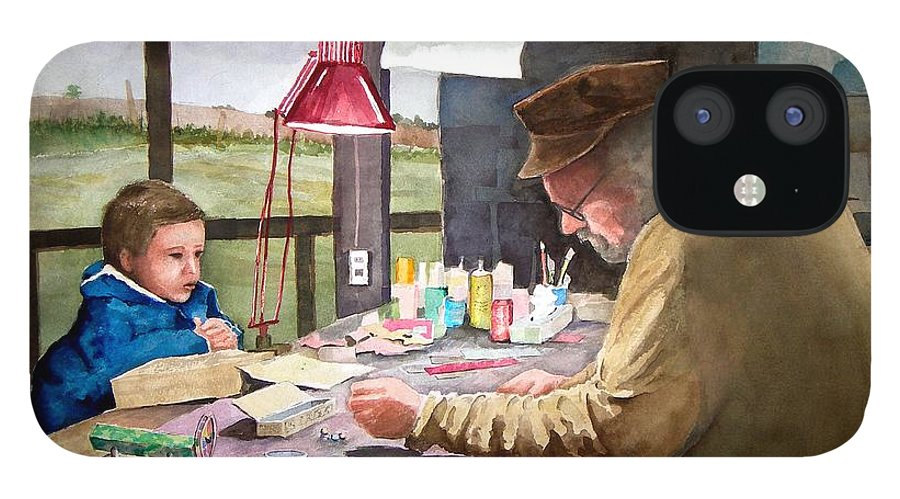 Man iPhone 12 Case featuring the painting Grandpa's Workbench by Sam Sidders