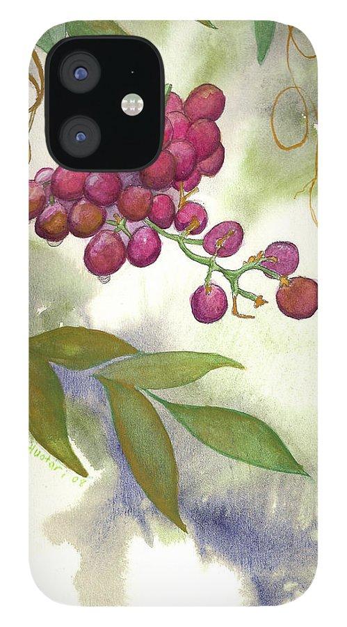 Rick Huotari IPhone 12 Case featuring the painting Grapes Divine by Rick Huotari