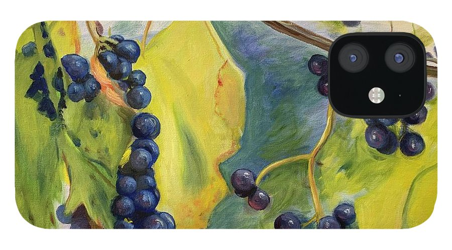 Wine IPhone 12 Case featuring the painting Grapes On The Vine by Anne Kushnick