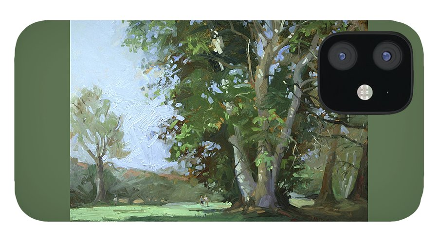 Golf Courses iPhone 12 Case featuring the painting Guardian of the Green by Betty Jean Billups