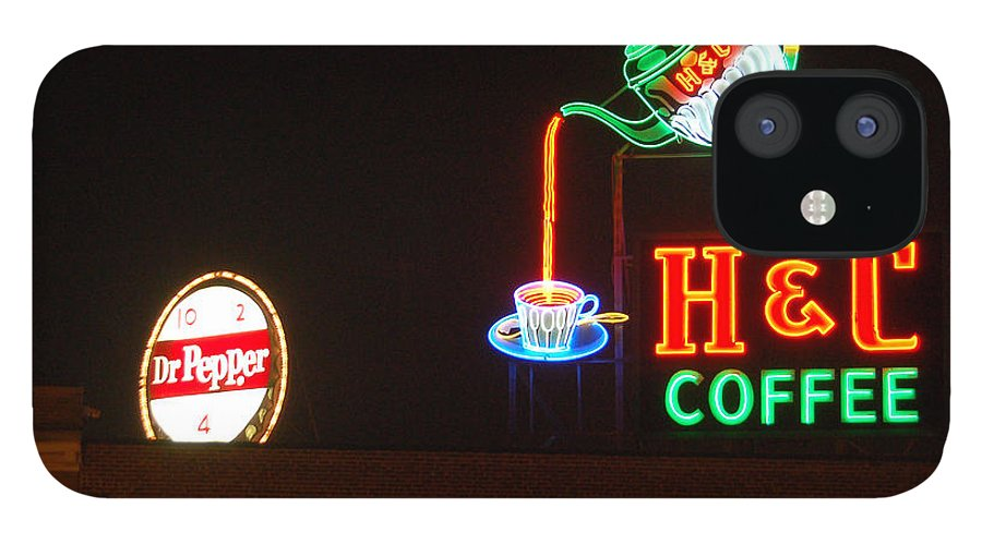 H C Coffee IPhone 12 Case featuring the photograph H and C Coffee Sign Roanoke Virginia by Suzanne Gaff