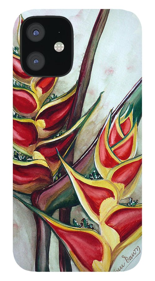 Caribbean Painting Flower Painting Floral Painting Heliconia Painting Original Watercolor Painting Of Heliconia Bloom  Trinidad And Tobago Painting Botanical Painting IPhone 12 Case featuring the painting Heliconia Tropicana Trinidad by Karin Dawn Kelshall- Best