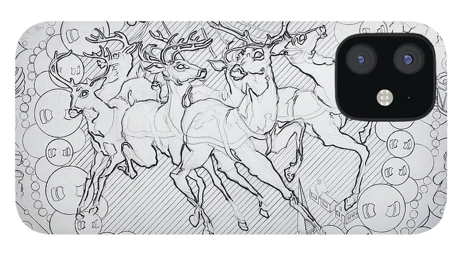 Charcoal Pencil IPhone 12 Case featuring the drawing His Courses They Came by Sean Connolly