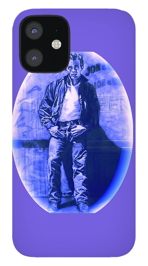 Charcoal On Paper IPhone 12 Case featuring the drawing James Dean 2 by Sean Connolly