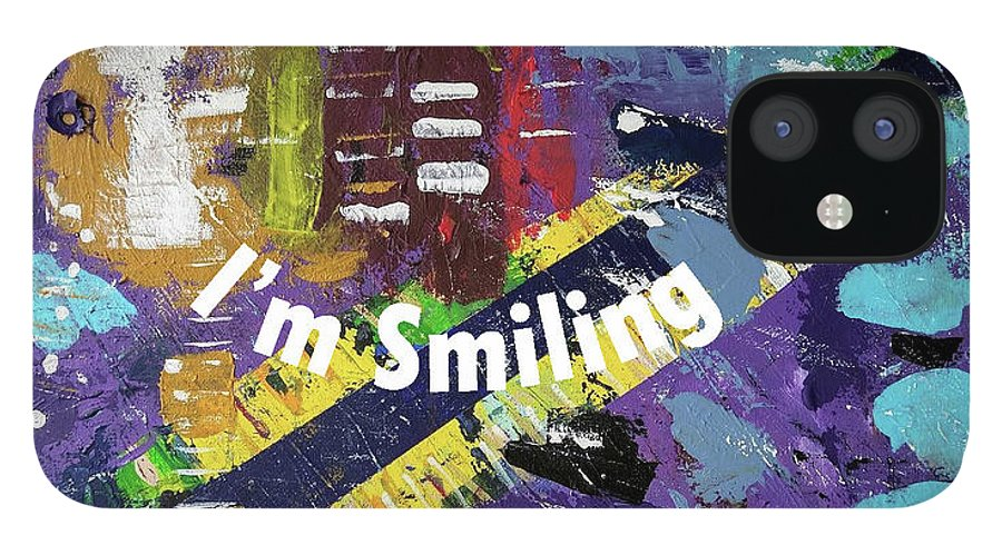 Purple IPhone 12 Case featuring the digital art Mask version of Just Smiling by Pam Roth O'Mara