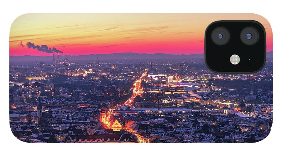 Karlsruhe IPhone 12 Case featuring the photograph Karlsruhe in winter at sunset by Hannes Roeckel