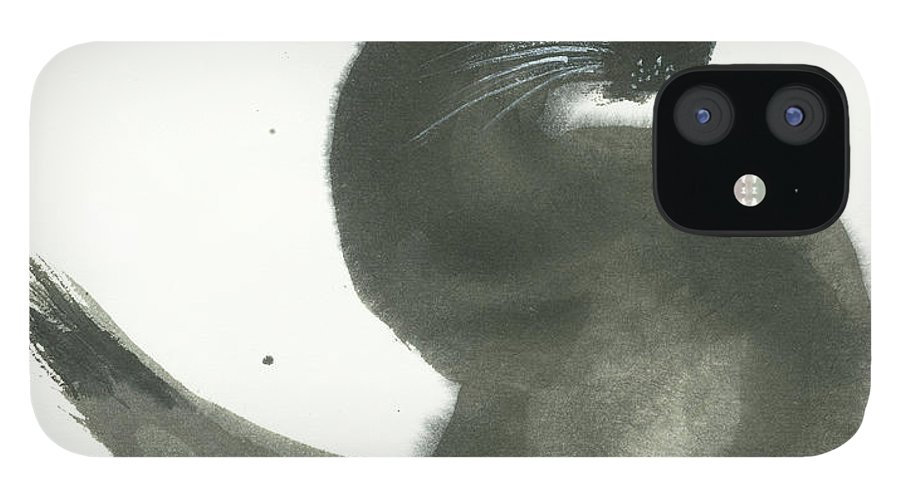 A Black Cat With Green Eyes Is Looking Intensely Ahead. It's A Simple Contemporary Chinese Brush Painting On Rice Paper. IPhone 12 Case featuring the painting Keen by Mui-Joo Wee