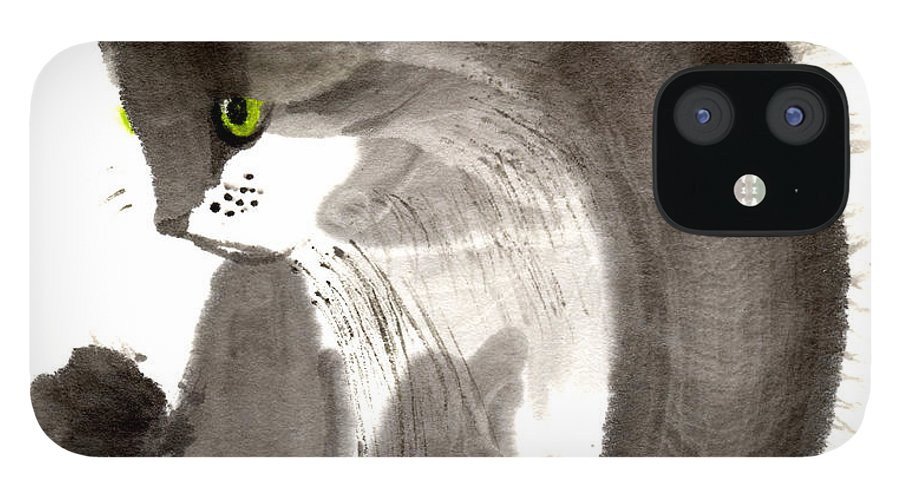 A Kitten Is Looking Attentively. This Is A Contemporary Chinese Ink And Color On Rice Paper Painting With Simple Zen Style Brush Strokes.  IPhone 12 Case featuring the painting Kitten by Mui-Joo Wee