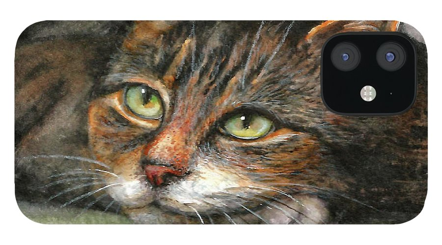 Cat iPhone 12 Case featuring the painting Kitty by Natalja Picugina