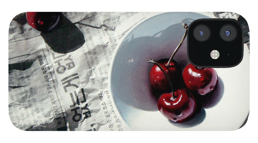 Cherries IPhone 12 Case featuring the painting Korean Cherries by Dianna Ponting