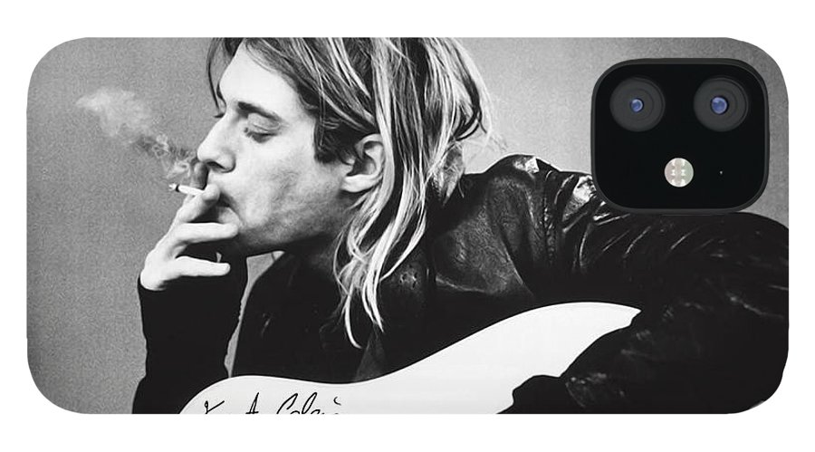 Kurt Cobain IPhone 12 Case featuring the photograph KURT COBAIN - SMOKING POSTER - 24x36 MUSIC GUITAR NIRVANA by Trindira A