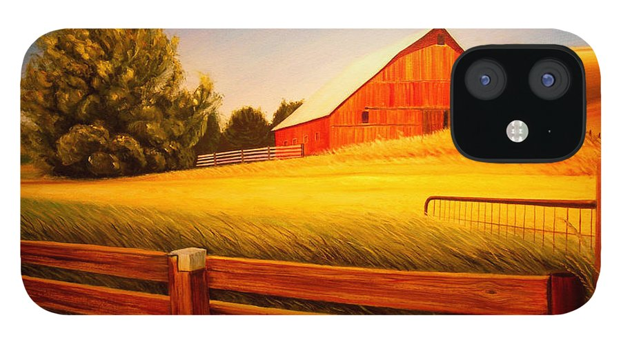 Wheat IPhone 12 Case featuring the painting La Crosse Barn by Leonard Heid
