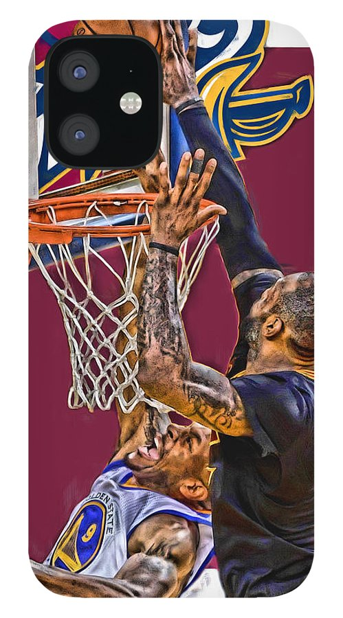 Lebron James IPhone 12 Case featuring the mixed media Lebron James Cleveland Cavaliers Oil Art by Joe Hamilton