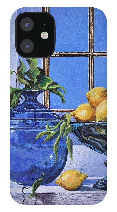 Original Painting IPhone 12 Case featuring the painting Lemons by Sinisa Saratlic