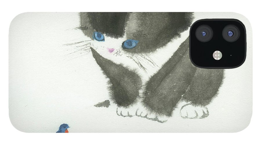 A Curious Little Cat Is Captivated By A Little Bird She Found. This Is A Simple Contemporary Chinese Brush Painting On Rice Paper. IPhone 12 Case featuring the painting Little Cat Found a Bird by Mui-Joo Wee
