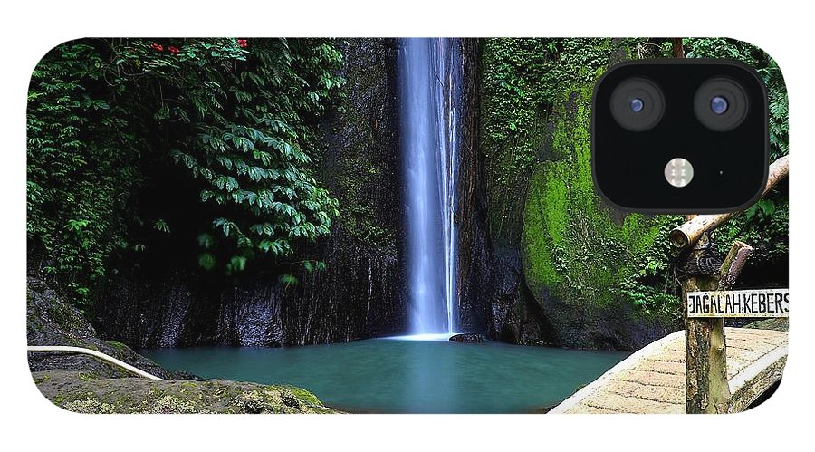 Waterfall IPhone 12 Case featuring the digital art Lonely waterfall by Worldvibes1
