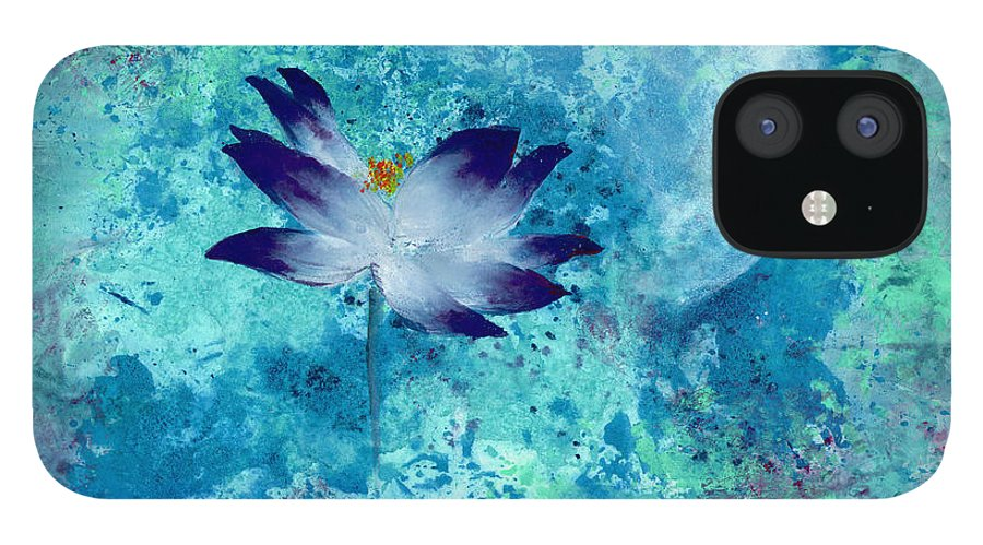 Under The Silver Moon iPhone 12 Case featuring the painting Lotus Moon by Mui-Joo Wee