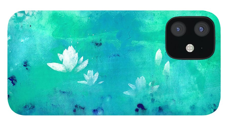 A Traveler Floating A Raft On A Lotus Pond. This Is A Contemporary Chinese Ink And Watercolor On Rice Paper Painting. IPhone 12 Case featuring the painting Lotus Pond by Mui-Joo Wee