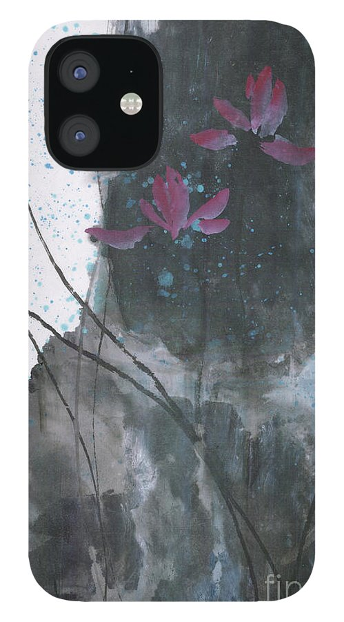 Lotus Emerged Out Of The Sludge IPhone 12 Case featuring the painting Lovely Lotus by Mui-Joo Wee