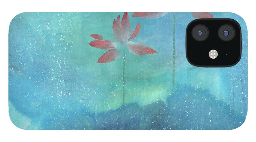 Lotus Emerged Out Of The Sludge iPhone 12 Case featuring the painting Luminous by Mui-Joo Wee