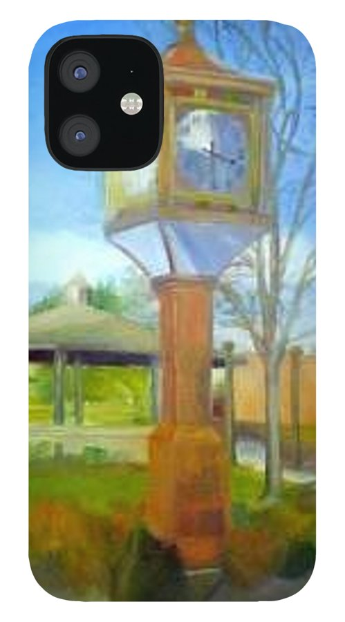 Maple Shade IPhone 12 Case featuring the painting Maple Shade Clock by Sheila Mashaw