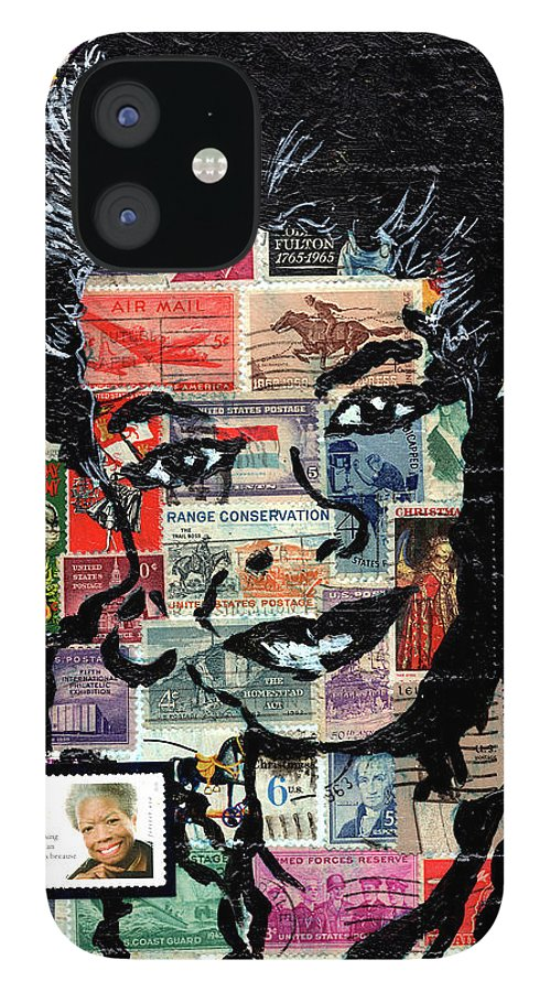 African Mask iPhone 12 Case featuring the mixed media Maya Angelou by Everett Spruill