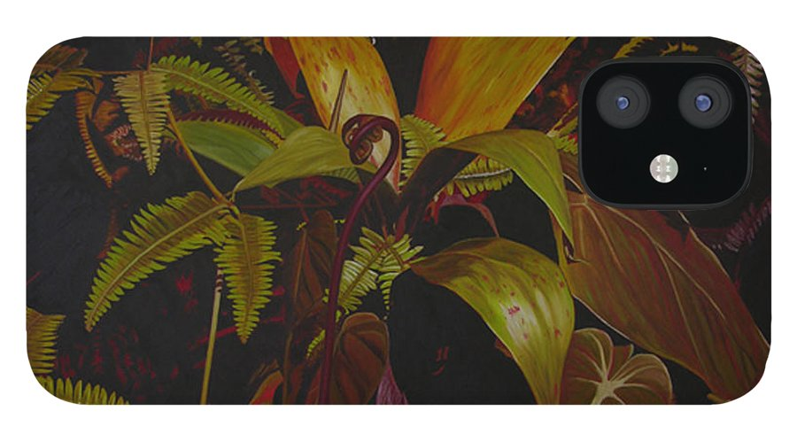Plant IPhone 12 Case featuring the painting Midnight in the garden by Thu Nguyen