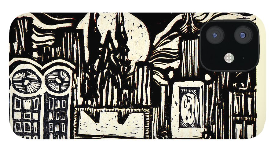Bizarre iPhone 12 Case featuring the mixed media Midnight Wind Over Manhattan by Seth Weaver
