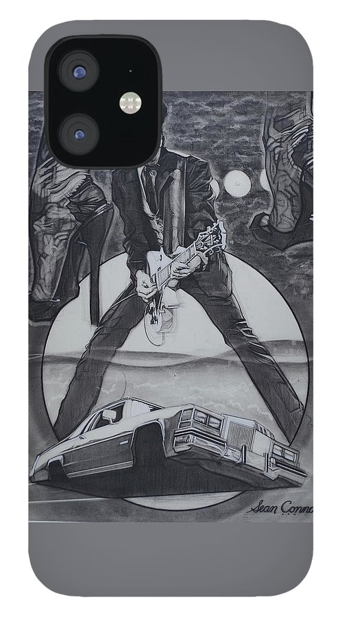 Charcoal Pencil iPhone 12 Case featuring the drawing Mink DeVille by Sean Connolly