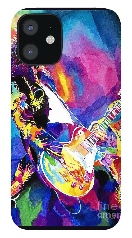 Jimmy Page Artwork IPhone 12 Case featuring the painting Monolithic Riff - Jimmy Page by David Lloyd Glover