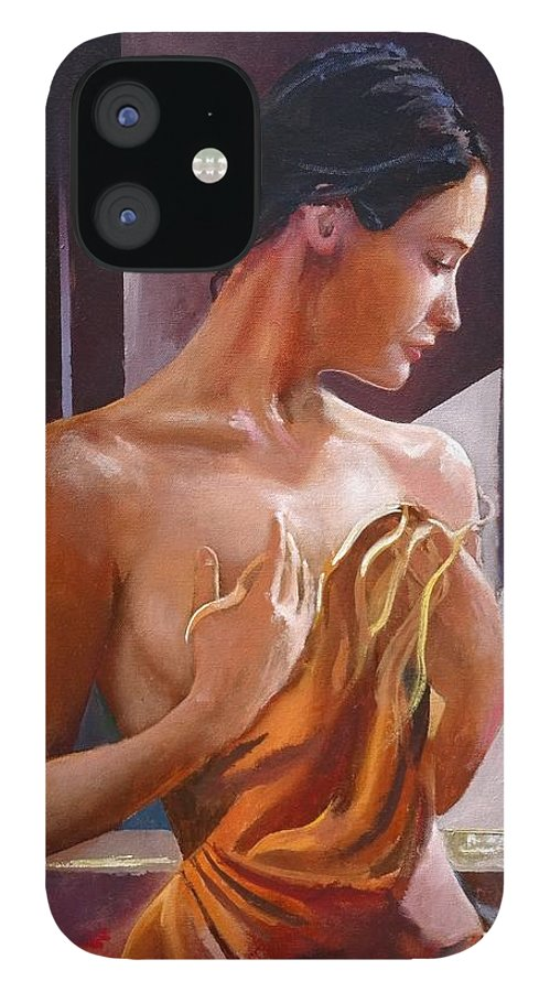 Female Figure IPhone 12 Case featuring the painting Morning Beauty by Sinisa Saratlic