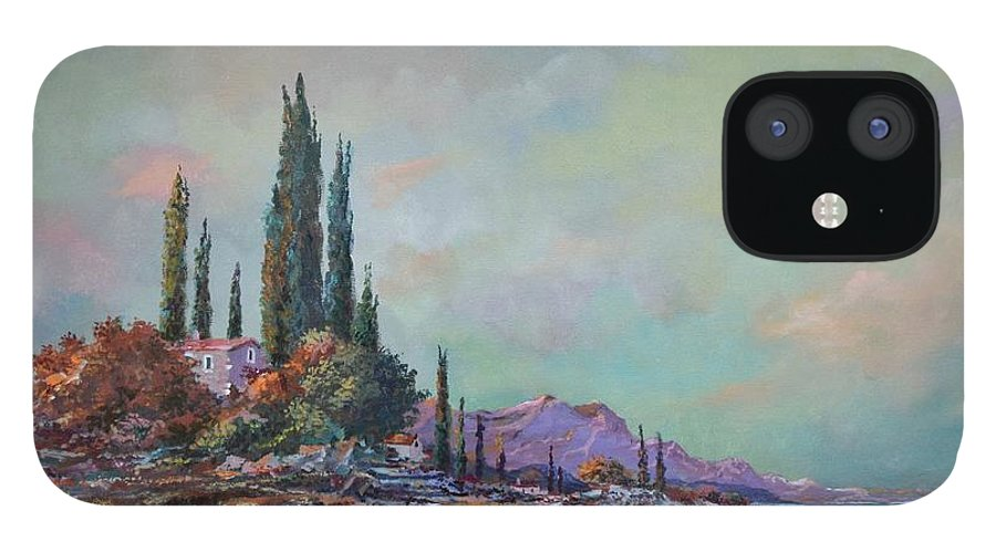Seascape IPhone 12 Case featuring the painting Morning Mist by Sinisa Saratlic