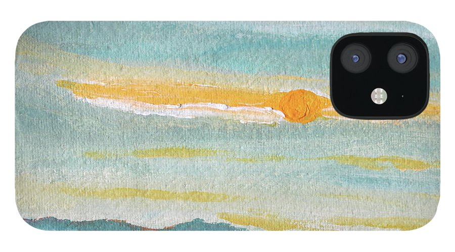 Sky iPhone 12 Case featuring the painting Morning Sky in Winter by Caroline Cunningham