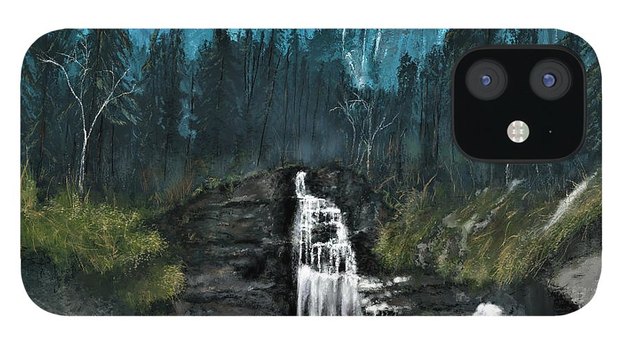 Mountain IPhone 12 Case featuring the digital art Mountain Waterfall by Susan Kinney