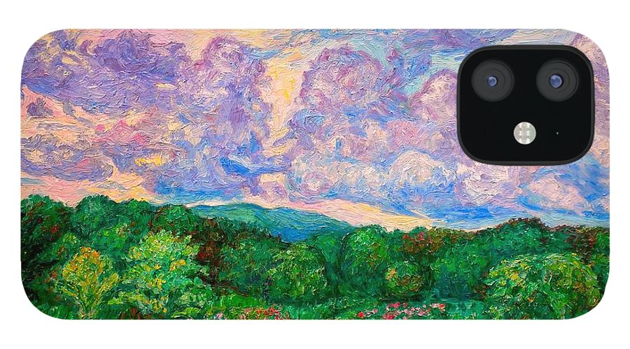 Landscape IPhone 12 Case featuring the painting Mushroom Clouds by Kendall Kessler