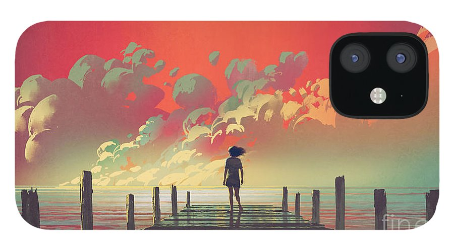 Illustration IPhone 12 Case featuring the painting My Dream Place by Tithi Luadthong