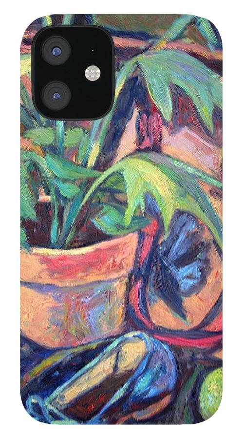 Plant iPhone 12 Case featuring the painting My Old Shoe by Kendall Kessler