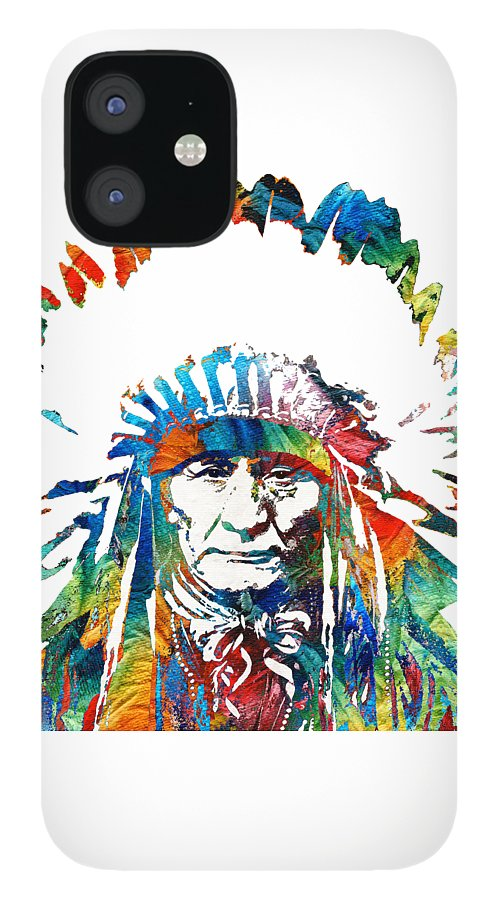 Native American IPhone 12 Case featuring the painting Native American Art - Chief - By Sharon Cummings by Sharon Cummings