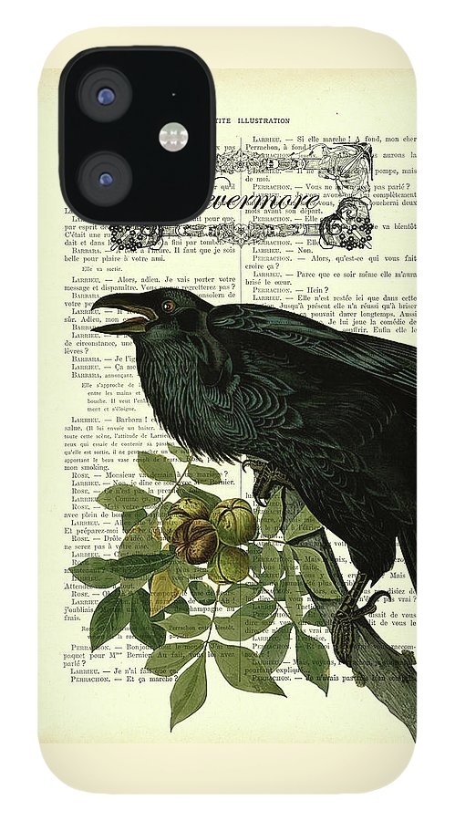 Edgar Allan Poe IPhone 12 Case featuring the digital art Nevermore raven, Edgar Allan Poe art by Madame Memento