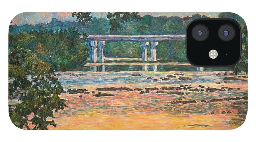 Landscape IPhone 12 Case featuring the painting New Memorial Bridge at Dusk by Kendall Kessler