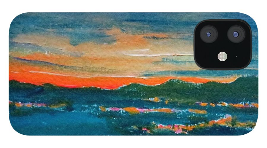 Landscape iPhone 12 Case featuring the painting Night Sky Over Bunclody by Caroline Cunningham