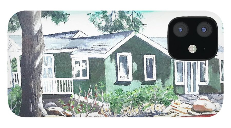 Landscape iPhone 12 Case featuring the painting Ocean Front House by Andrew Johnson